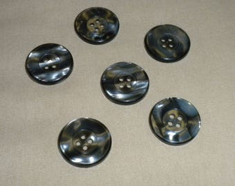 """Vintage Black Marbled Glossy 4-hole 7/8"""" Buttons -- 12 pcs   (B426)"""