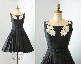 40% OFF SALE - Vintage 1950s Fit & Flare Black Cotton Dress