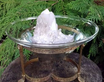 Vintage Glass Bowl & Brass Stand w/Lion Feet - perfect to hold your herbal blends, spell candles or crystals.