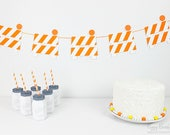 Construction Barrier Garland : Handcrafted Construction Zone Decoration | Under Construction Party Decoration | Contractor Banner