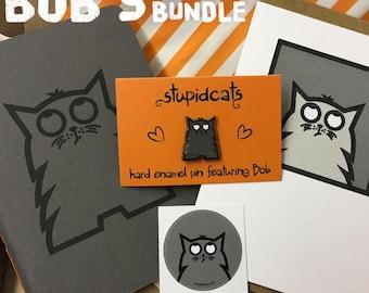 Bob's Portrait Bundle, Cat Stationery, Enamel Pin, Cat Notebook, Cat Card, Blank Card, Cat Lover Gift