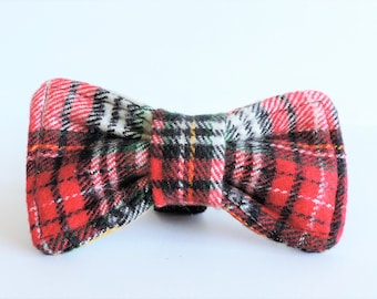 Christmas Plaid Woven Cat/Dog Clip-on Collar Bow Tie - Wedding/Holiday/Photo Shoot Pet Apparel - Small/Medium/Large Dog Plaid/Tartan Bow Tie