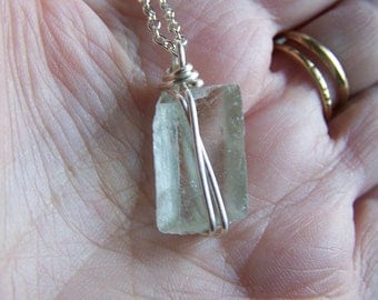 Pale Green Optical Calcite Raw Viking Sunstone Pendant