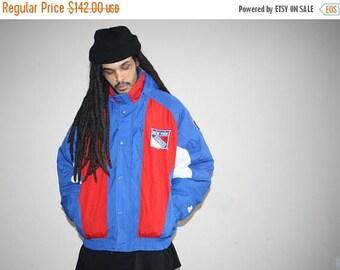 On SALE 35% Off - VTG 1990s New York Rangers NHL Hockey Starter Athletics Winter Parka Jacket Coat - Starter Jackets - 90s Clothing - Mv0361