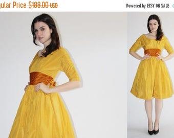 FLASH SALE - D - Harry Kesier Dress -  50s Mustard Party Dress - The  Dijon Dress - 8047