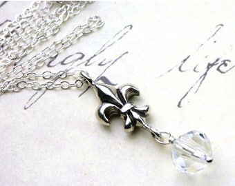 ON SALE Fleur-de-Lis and Crystal Necklace - Silver Parisian Pendant - Swarovski Crystal and All Sterling Silver