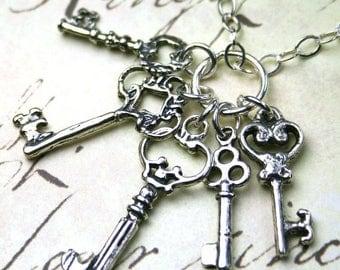 ON SALE The Vintage Skeleton Key Cluster Charm Necklace - Five Key Pendant - All Sterling Silver
