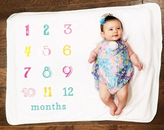 Monthly Milestone Retro Numbering Baby Blanket with or without personalization