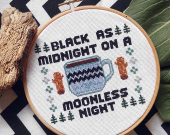 Twin Peaks Cross Stitch Pattern 'Moonlight Coffee' modern sampler INSTANT DOWNLOAD / PDF