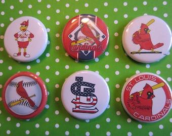 Set Of 6 St. Louis Cardinals Pin Back Buttons, Pin Back Buttons, Pins, St. Louis Cardinal Magnets, Cardinals, STL, Baseball Pins