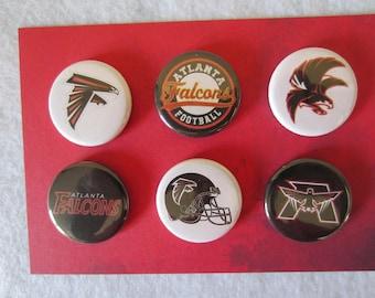 Atlanta Falcons Pin Back Buttons, Atlanta Falcons, Pin Back Buttons, Magnets, Atlanta Falcons Magnets, Novelty Pins, Novelty Magnets