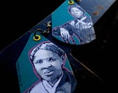 Harriet Tubman hand-painted Underground Railroad leader historic Figure earrings