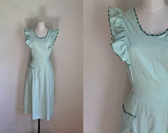 vintage 1940s dress - HAPPY HOME green & white polka dot pinafore / M