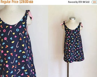 20% off SALE vintage girl's novelty print dress - TRICK or TREAT candy print reversible top / dress / 6/7x