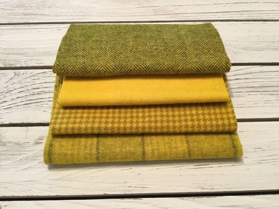 Primitive  Sunflower Yellows, Hand Dyed Wool Bundle, Rug Hooking, Applique, Penny Rugs, Textile Arts