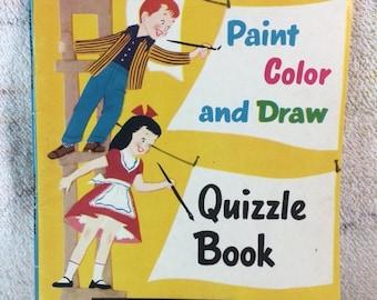 20% SALE Quizzle Book - Paint Color and Draw Activity Book UNUSED 1957 Retro 50s Kids