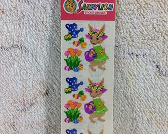 SUMMER SALE Sealed Vintage Sandylion Stickers KromeKote Easter Bunnies 90s Kids Collectible Retro Ephemera Scrap Book