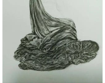 Drapery Study For A Seated Figure Charcoal Drawing A4 Fine Art Original