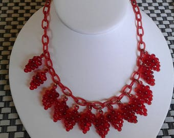 My Best Early Vintage Plastic Cast Necklaces Red Clear RASPBERRY Chain Plastic Link All Original