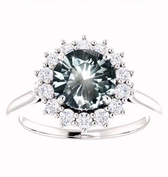 Two Carat Montana Sapphire Diamond Halo Ring