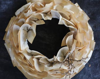 """Dickens Book Paper Wreath -- 18"""" Christmas Wreath Made from Pages of A Christmas Carol"""