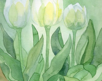 White Tulip Print from Original Watercolor