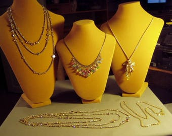 Vintage Lot 5 Kirks Folly Signed Necklaces Glass Bead Fringe 2 Sauteur AB Crystal Cherub Pendant 9278