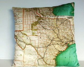 SALE SALE SALE Pillow cover map cushion Texas, Organic cotton, cushion cover, pillow cover, throw pillow, decorative pillow.
