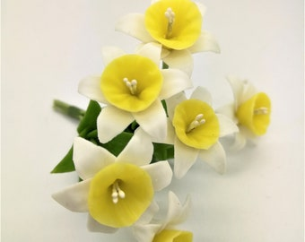 Blossom Yellow Daffodil with leaves, Miniature Polymer Clay Flowers, 12 stems