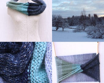 Blue mohair shawl / Winter wedding cape / Christmas gift / Chunky scarf for fall / Bohemian autumn scarf - Dawn 1