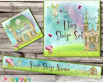 Etsy Shop Set - Premade Etsy Banner - Etsy Shop Banner - Etsy Cover - Etsy Shop Icon - Avatar - Unicorns & Fairies