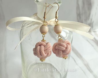 Pink Opal With Chinese Knot Earring