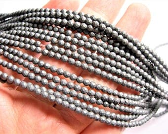 Hematite matte - 3 mm faceted round beads -1 full strand -124 beads - AA quality - Matte - RFG1363