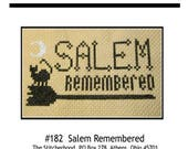 PDF E pattern emailed  Salem Remembered Anniversary Witch Cross Stitch Pattern Sampler 182