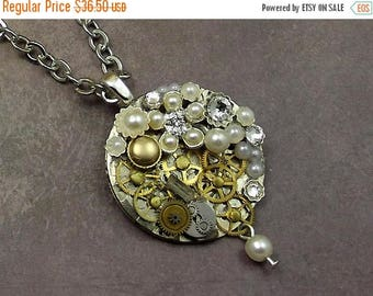 25OFFSALE Steampunk Pearl Gear Necklace, Watch Plate Stainless Silver