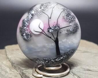 Handmade lampwork glass bead - Moonlight Tree bead
