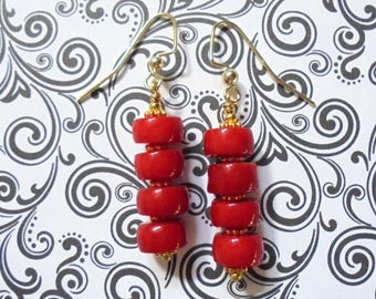 Red Coral Earrings (3666)