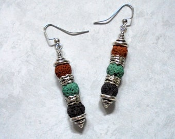 Brown, Green, Black and Silver Boho Earrings (3680)