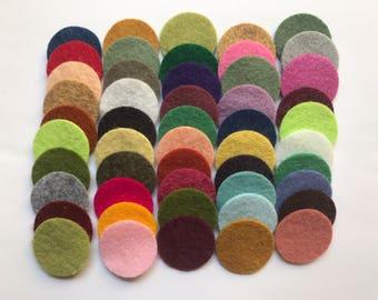 Wool Felt Circles Die Cut 50 - 1 inch Random Colored 4098 - DIY Felt - Merino Felt - Arts and Crafts - Hair Clip Supply - Die Cut Felt