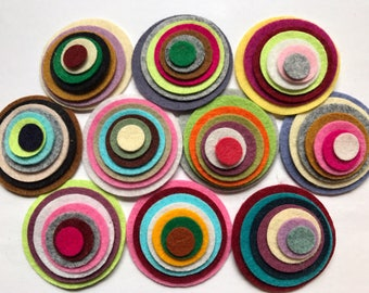 Wool Felt Circles Die Cut 70 total -  Sizes 2in - .5in Random Colored 4114 - Felted Circle - Circle Die Cut - Headband Supplies - DIY Felt