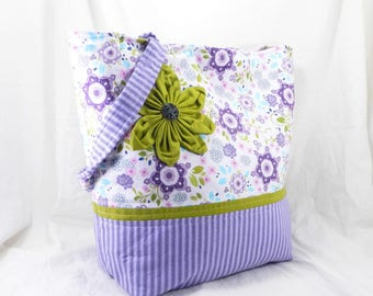 Library Bag, Large Handmade Tote,Laugh Love Quilt, Amy Hamberlin, Purple and White, Fabric Flower, Pretty Spring Purse, Ticking Away