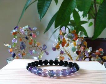 "Handmade Genuine Natural Black Onyx & Rainbow Fluorite  Bracelet, Gemstone Protection Stretch Bracelet, Energy Balance 7"" Reiki Bracelet"