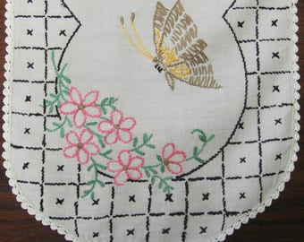 Vintage Hand Embroidered Butterfly Pink Floral Table Runner Dresser Scarf
