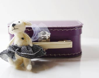 Small Purple Paper Suitcase with Felted Animal