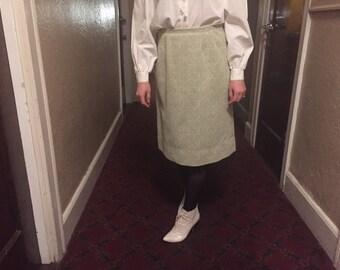 Pierre Delaneau MOD skirt | 60s vintage high waist pencil skirt womens retro mid century lime green baroque texture pattern women bottom M L