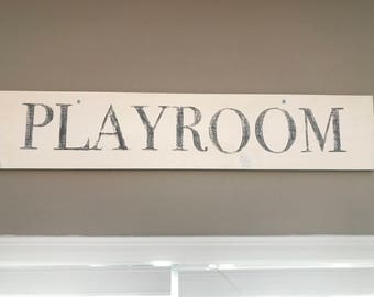 Playroom Painted Wood Sign White Farmhouse style rustic