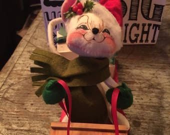 Vintage Annalee Dolls 1993 Mouse on Sled Presents Holiday Christmas