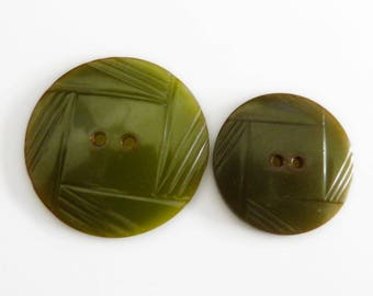 Art Deco Bakelite Buttons Green