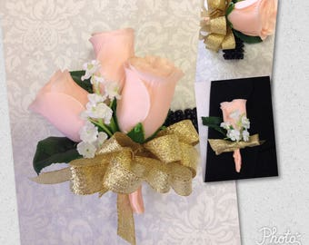 New Artificial Peach, and Gold Corsage and Bout Prom Set
