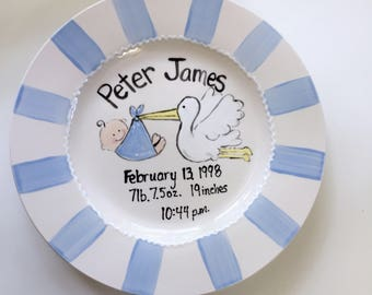 Personalized Birth plate, Baby girl plate, Baby boy plate, Birth announcement plate, Ceramic Birth plate, Hand painted child's plate